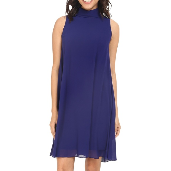 6c368b27e3ee Vince Camuto Dresses | Nwt Navy Chiffon Mock Neck Trapeze Cocktail ...